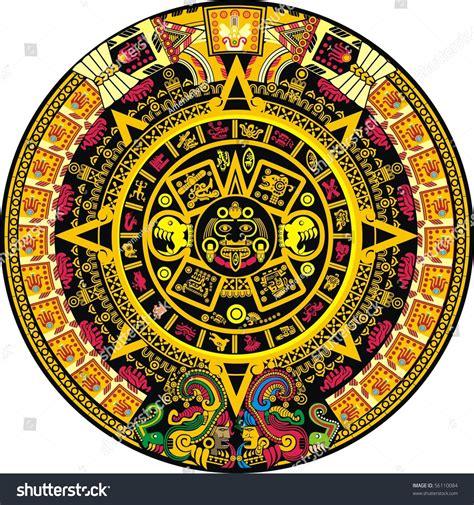 aztec colors aztec calendar color stock vector 56110084