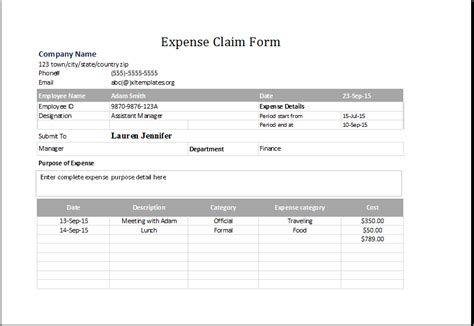 simple expenses claim form template expense claim form template for excel excel templates