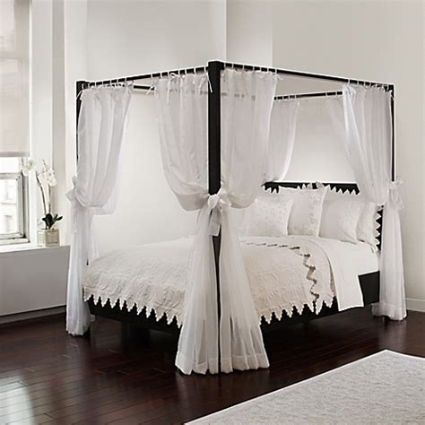 metal canopy bed white with curtains buy tie sheer bed canopy curtain set in white bedding