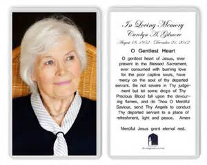 Funeral Memorial Card Prayers