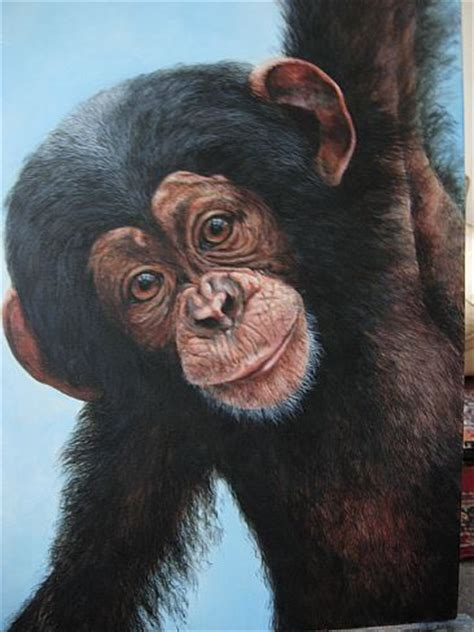 chimpanzee - Painting Art by Lauren Bissell