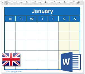 calendar  uk holidays ms word