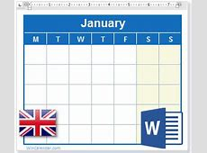 2019 Calendar with UK Holidays MS Word Download
