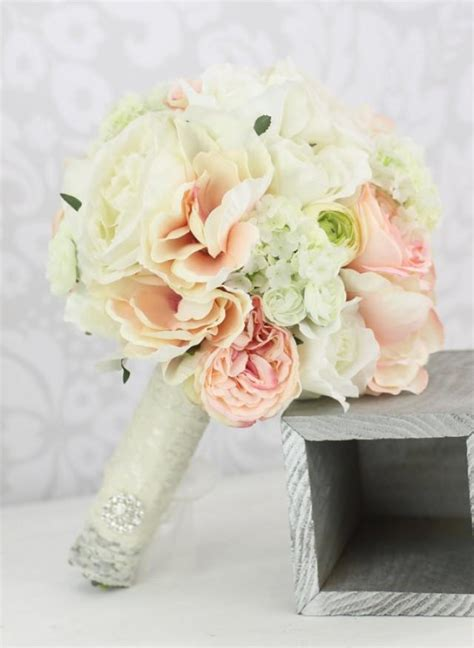 shabby chic wedding flowers decor silk bride bouquet peony flowers pink cream spring mix shabby chic wedding decor 2233776 weddbook