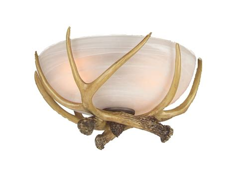 craftmade lk16cfl white glass with antlers two light