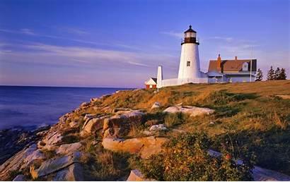 Lighthouse Maine Pemaquid Usa Cliffs Wallpapers Desktop