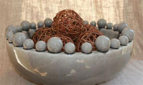 Large Grey Ceramic Bowl with Bobbles on Rim