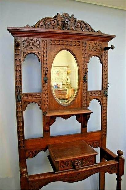 Antique Victorian Hall Tree Gothic Carved Furniture