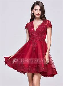 a line princess v neck short mini tulle homecoming dress With robe de soirée courte rouge