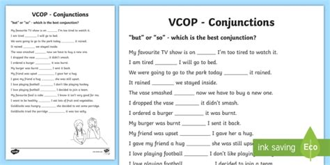but and so conjunctions worksheet activity sheet