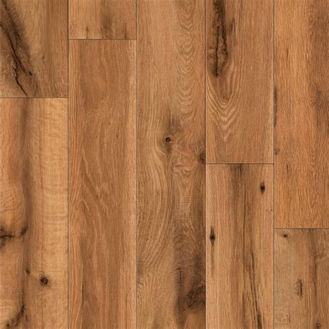 laminate wood planks shop allen roth 4 96 in w x 4 23 ft l lodge oak handscraped laminate wood planks at lowes com