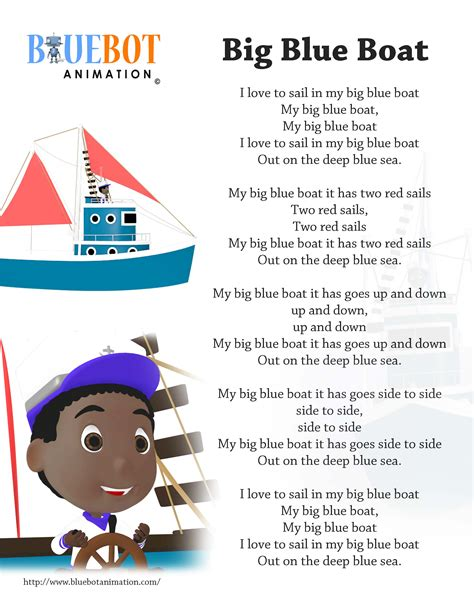 Small Boat In The Ocean Song by Big Blue Boat Nursery Rhyme Lyrics Free Printable Nursery