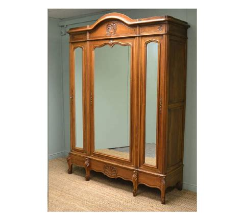 Large French Decorative Walnut Antique Wardrobe Armoire