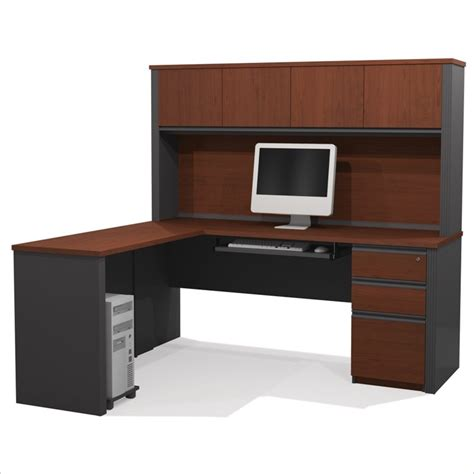 bestar prestige l shaped desk with pedestal bestar prestige l desk with pedestal in bordeaux