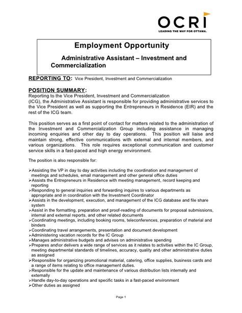 icg administrative assistant job description