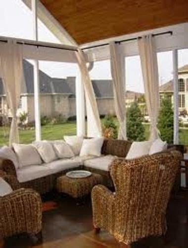 screen porch with curtains screened porch