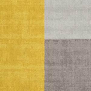Tapis Forme Geometrique : tapis moderne tricolore formes g om triques jaune et gris en laine ~ Teatrodelosmanantiales.com Idées de Décoration