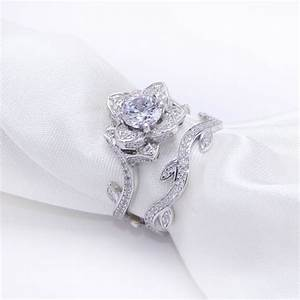 23 ct rose flower white gold plated wedding ring for With womens wedding ring sets white gold