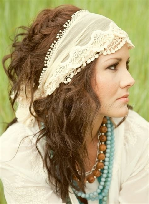 bridal headbands   hippie bridal hairstyle with headband