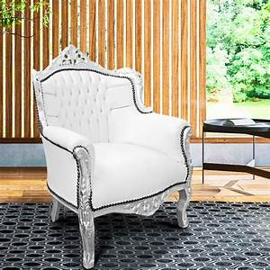 Fauteuil Cuir Et Bois : fauteuil princier de style baroque simili cuir blanc et bois argent ~ Teatrodelosmanantiales.com Idées de Décoration
