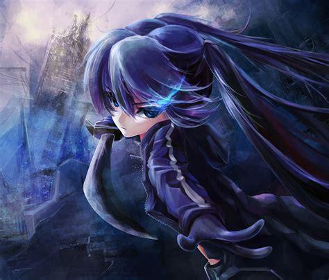 black hair black rock shooter blue eyes katana kuroi mato