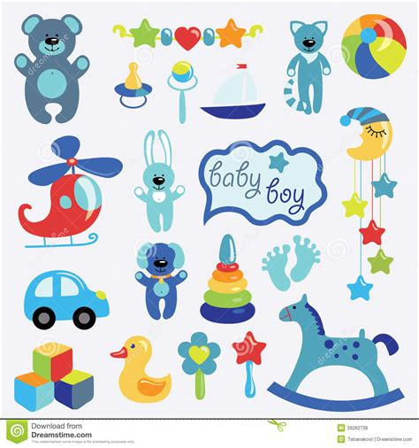 Baby Toys Set Collection For Little Boy Stock Vector ...