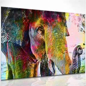 Abstrakte Bilder Leinwand : bunter elefant bild auf leinwand abstrakte bilder wandbilder kunstdruck d0521 ebay ~ Sanjose-hotels-ca.com Haus und Dekorationen