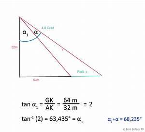 Sehwinkel Berechnen : seite ein 32 m gro er turm ist 64 m vom ufer eines ~ Themetempest.com Abrechnung