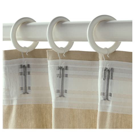 portion curtain ring with clip and hook white stained 47