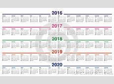 Kalender 2016 2017 2018 2019 2020 Vector Illustratie