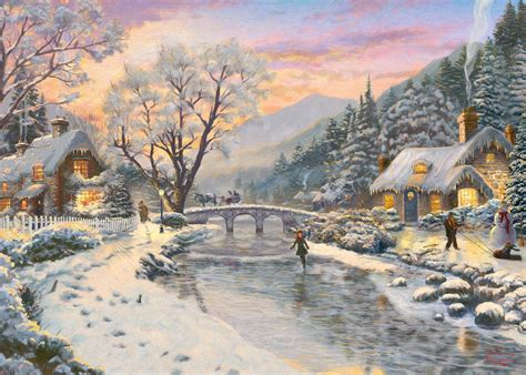 homeade lifesize thinas kinkade christmas tree winter evening dusk kinkade 1000 jigsaw puzzle kinkade puzzles