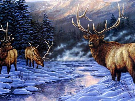 deer artistic   animal winter river snow