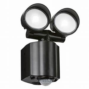 230v Ip44 2x8w Led Twin Spot Black Security Light With Pir