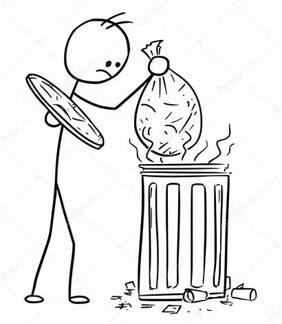 Trash Cartoon Stick Throwing Bag Waste Throw
