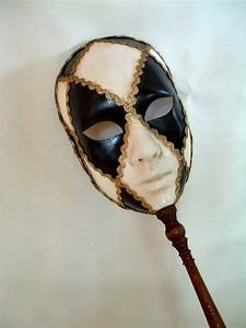 Full Face Black/White Stick - Venetian Masks - 1001 ...