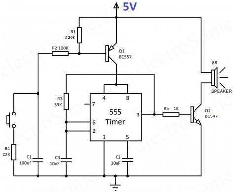 wailing siren using 555 timer hobby project circuit diagram