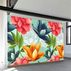 hawaiian, blooms, wall, mural, in, 2020