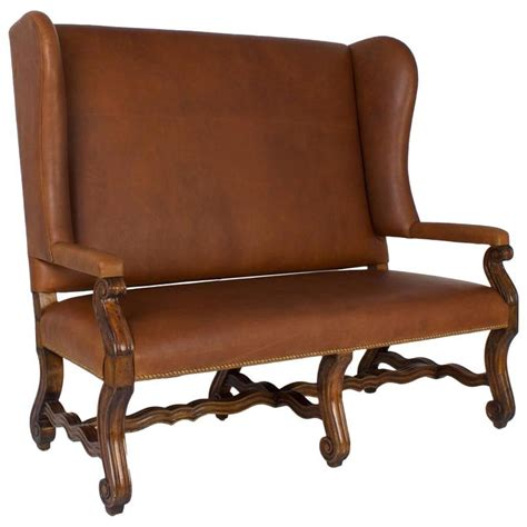 Leather Settee by Handsome Ralph Style Brown Leather Settee At 1stdibs