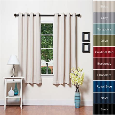 beige grommet top thermal insulated blackout curtain 63