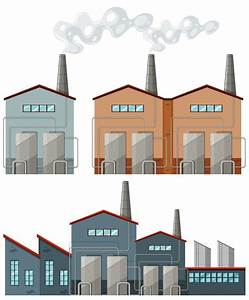 Factory buildings with chimneys illustration Vector | Free ...