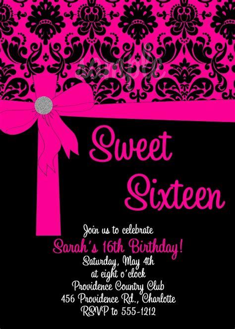 Pink & Black Sweet 16 Birthday Invitations Quinceanera