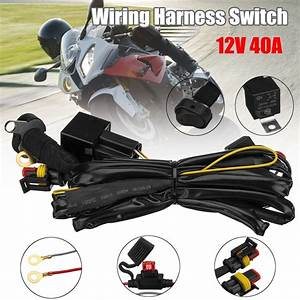 Motorcycle Led Fog Lights Wiring Harness Switch On  Off 40a For Bmw R1200gs F800gs    Adv