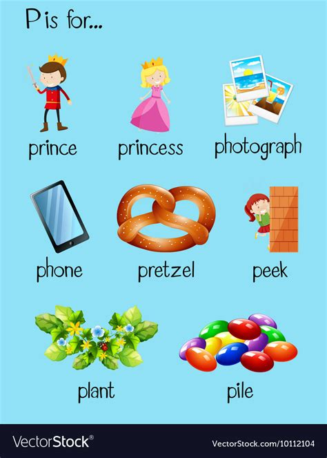many words begin with letter p royalty free vector image 122 | many words begin with letter p vector 10112104