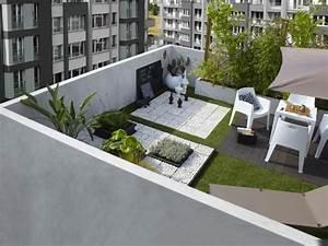 dachterrasse balkon gestaltung ideen stein kunstgras boden With balkon ideen boden