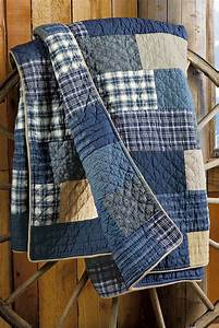 Use the boysu0026#39; old jeans shirts and pjs to make a weathered quilt like this. | Sew many crafts ...