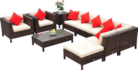outsunny 9 piece wicker outdoor sectional sofa set patio