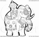 Elephant Coloring Outline Clipart Royalty Pageant Illustration Elephants Rf Lal Perera India Clipartof Version sketch template