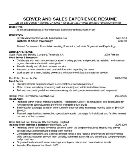 Cocktail Server Resume by Waitress Resume Template 6 Free Word Pdf Document