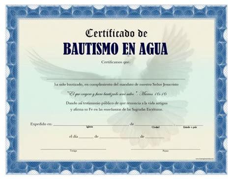 certificado de bautismo en agua para imprimir gratis dise 241 o certificate
