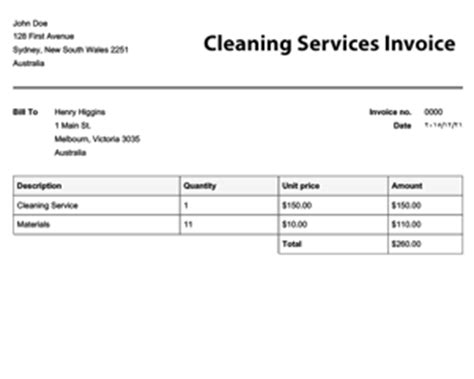 invoice template  cleaning services dascoopinfo